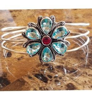 Jewelry - Swiss Blue Topaz and Garnet Flower Bracelet